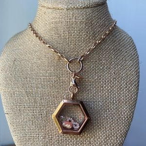 Jewelry - Rose gold hexagon locket and chain